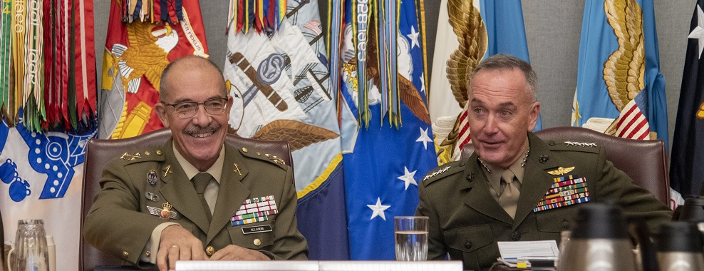 Chairman of the Joint Chiefs of Staff Gen. Joe Dunford meets with Chief of the Spanish General Staff Gen. Fernando Alejandre in Washington D.C., Oct. 18.
