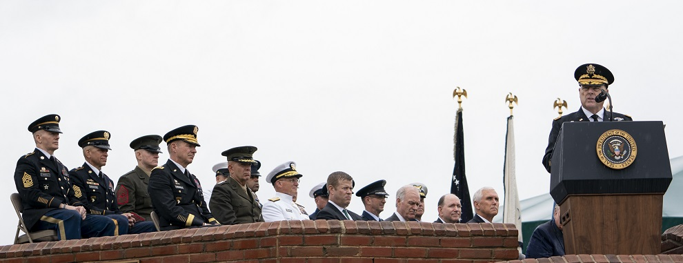 Army Gen. Mark A. Milley, 20th chairman of the Joint Chiefs of Staff, delivers remarks after being sworn in during an armed forces welcome ceremony at Summerall Field, Joint Base Myer-Henderson Hall, Va., Sept. 30, 2019. (DOD photo by U.S. Navy Petty Officer 1st Class Dominique A. Pineiro)