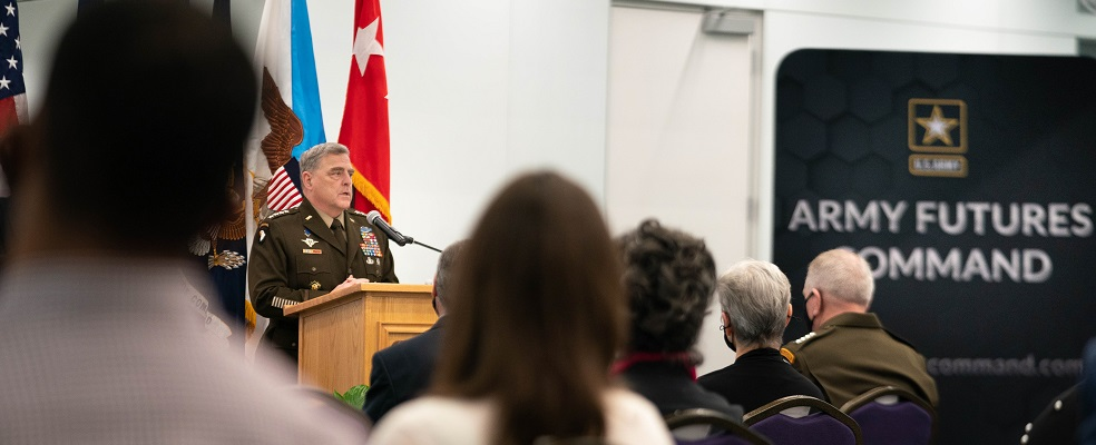 Army Gen. Mark A. Milley, chairman of the Joint Chiefs of Staff, delivers remarks at a ribbon cutting ceremony for the opening of Army Futures Command Software Factory at Austin Community College in Austin, Texas, April 15, 2021. (DOD Photo by Navy Petty Officer 1st Class Carlos M. Vazquez II)