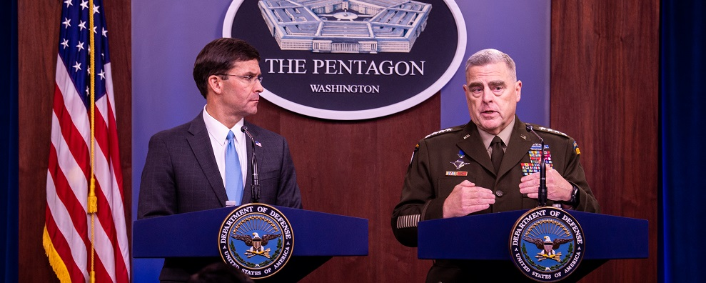 U.S. Secretary of Defense Dr. Mark T. Esper speaks to members of the press during a joint press conference with Chairman of the Joint Chief of Staff U.S. Army Gen. Mark A. Milley at the Pentagon, Washington, D.C., Oct. 11, 2019. (DoD photo by Staff Sgt. Nicole Mejia)