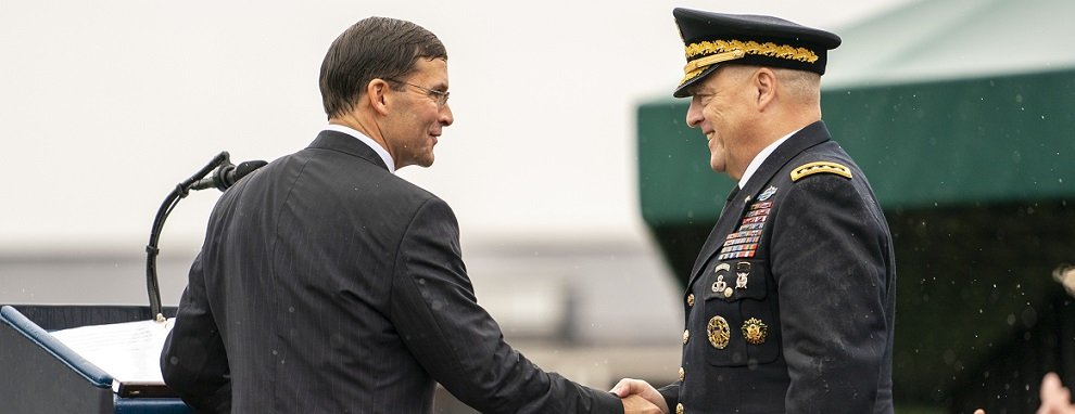 Defense Secretary Dr. Mark T. Esper congratulates Army Gen. Mark A. Milley, 20th chairman of the Joint Chiefs of Staff, after being sworn in as chairman during an armed forces welcome ceremony at Summerall Field, Joint Base Myer-Henderson Hall, Va., Sept. 30, 2019. (DOD photo by U.S. Navy Petty Officer 1st Class Dominique A. Pineiro)