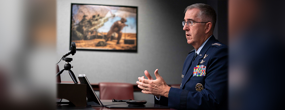 Vice Chairman of the Joint Chiefs of Staff Gen. Hyten virtual chats with students at National Defense University